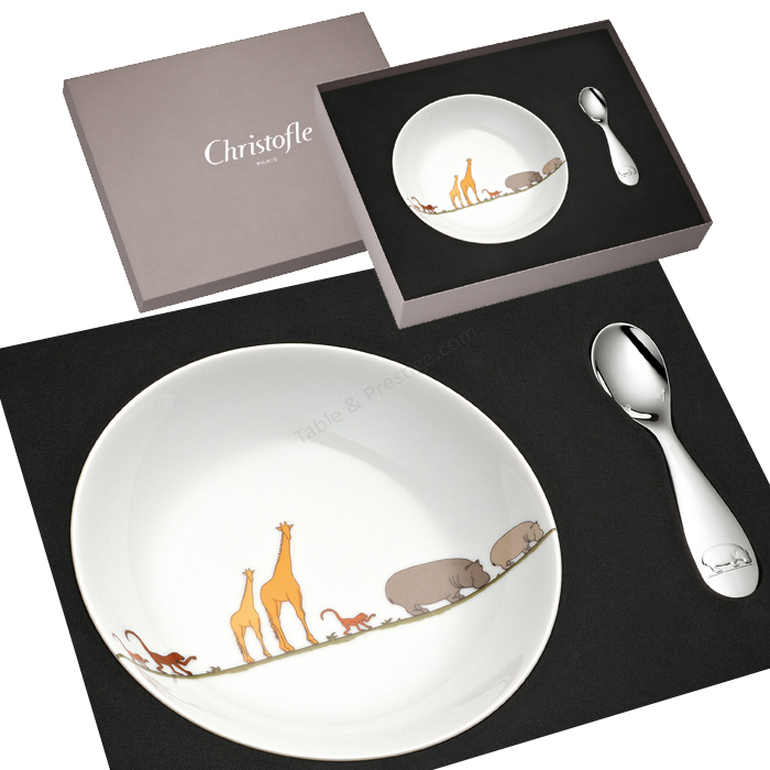 Plate and spoon set bouillie baby - Christofle  sc 1 st  Table \u0026 Prestige & Plate and spoon set bouillie baby savane Christofle baby gift 07754010